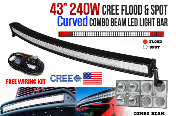 43inch 240W Curved CREE LED Light Bar w/ Wiring Kit