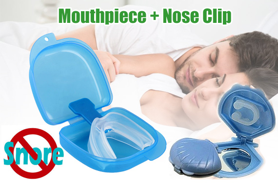 2pk Anti Snoring Silicone Mouthpiece and Nose Clip