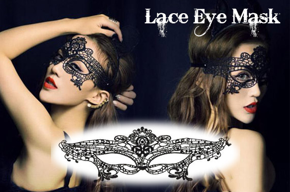 2x Sexy Elegant Black Lace Eye Face Mask