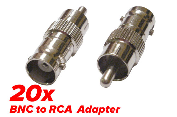 20x RCA Male to BNC Female Adapter