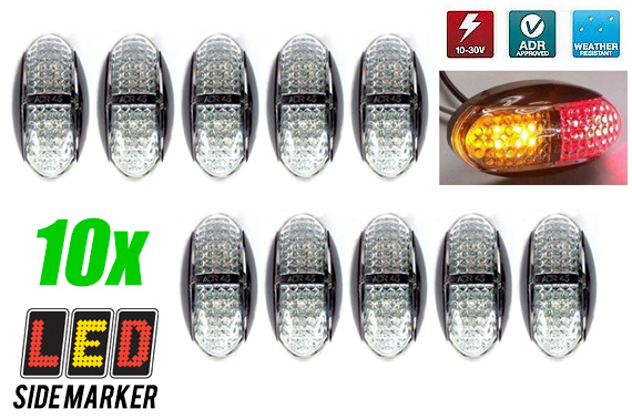 10x LED Side Marker Truck Tail Light - Red/Amber Colour