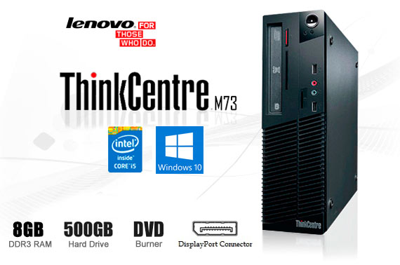 Ex-Leased Lenovo ThinkCentre M73 SFF (Small Form Factor) Desktop PC