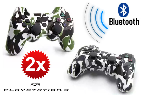 2x Camouflage Wireless Bluetooth Game Controller for Sony PS3