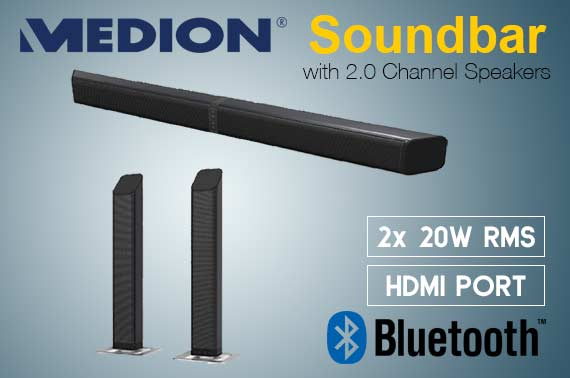 Refurbished Medion Bluetooth Soundbar with 2.0 Channel Speakers