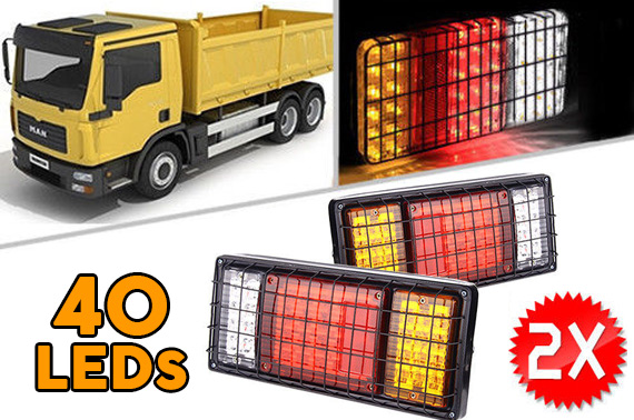2x (1 Pair) 12V 40 LED Truck Tail Light w/ Steel Net Cover