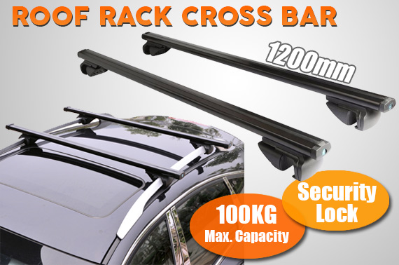 Universal Aluminum Alloy Lockable Car Roof Rack Cross Bar 1200mm - Black