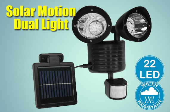 22LED Adjustable Dual Solar Powered Motion Sensor Flood Light