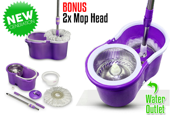 360 Spinning Dry Magic Mop Stainless Steel Basket w/ 2 Mop Head