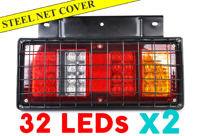 12V 64LED Truck Tail Lights w/ Steel Net Safe Cover
