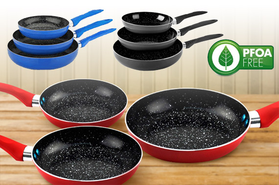 3pcs Non-Stick CERAMIC Stone Coated Fry Pan Set