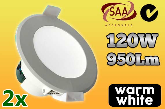 2x 12W Warm White Non-Dimmable LED Downlight Kit