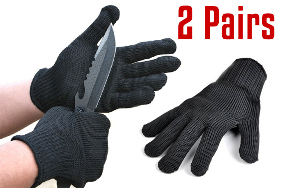 2 Pairs Stainless Steel Wire Cut Resistant Gloves