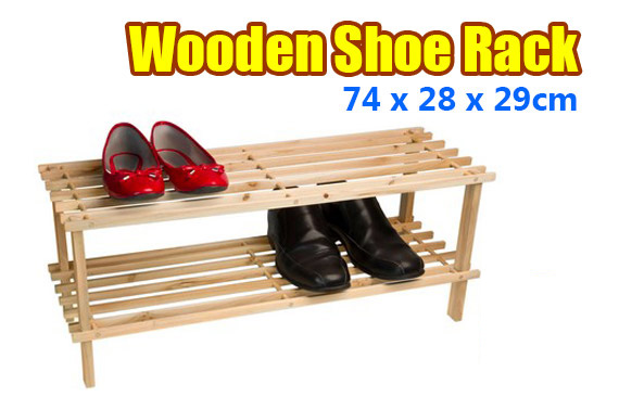 2x 2 Tier Wooden Shoe Rack