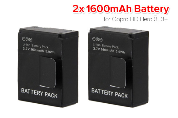 2x 3.7v 1600mAh Rechargeable Li-ion Battery for Gopro Hero 3 3+