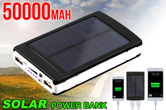 50000mAh Solar Power Bank w/ Dual USB Ports
