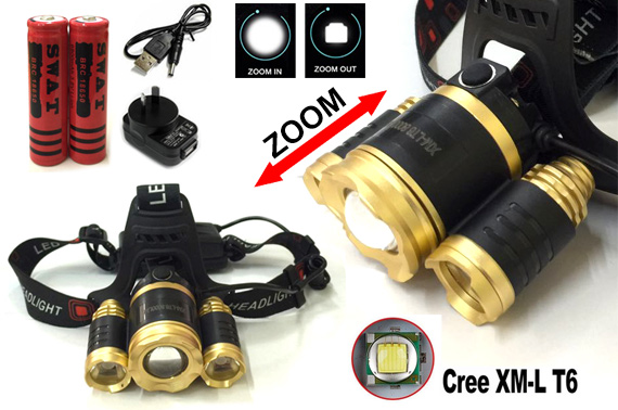Rechargeable 8000LM CREE XM-L 3T6 LED Zoomable HeadLamp