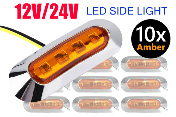 10x 12V/24V Amber LED Truck Side Marker Clearance Light