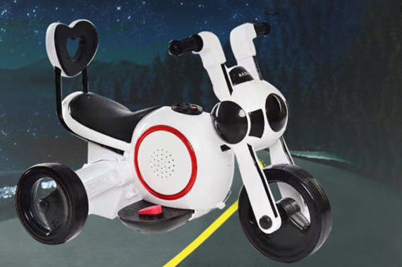 Rechargeable Kids Electric Ride on Toy Motorcycle - White
