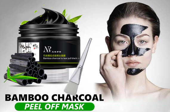 Bamboo Charcoal Peel Off Cleaning Mask + Brush