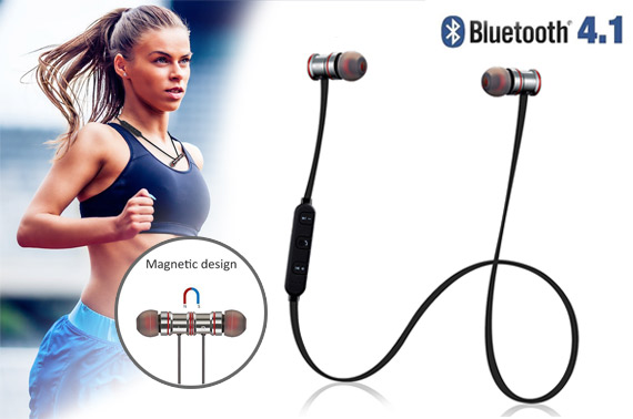 Bluetooth 4.1 Wireless Magnetic Sports Stereo Headphones