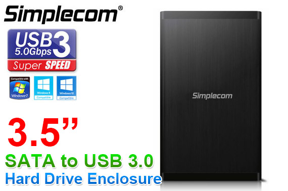 Simplecom SE328 3.5'' SATA to USB 3.0 Full Aluminium Hard Drive Enclosure