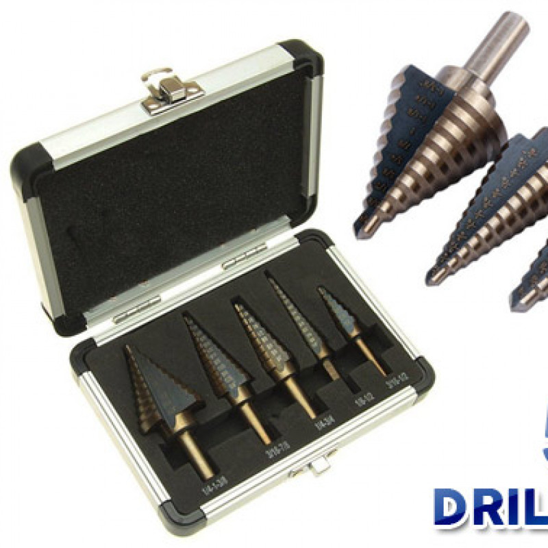 5PCS HSS Step Steel Step Cone Drill Titanium Bit Set