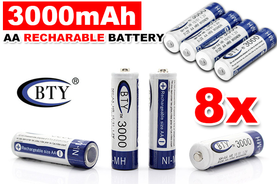 8x 3000mAh NI-MH 1.2V BTY AA Rechargeable Battery