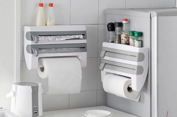 4-in-1 Wall Mounted Kitchen Organizer/Roll Holder/Foil Film Towel Rack