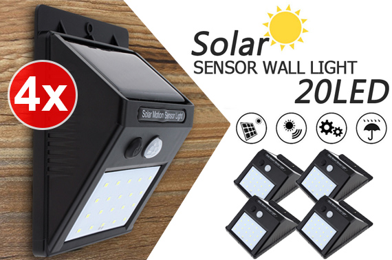 4x 20LED Solar Power Wall Lights w/ Motion Sensor
