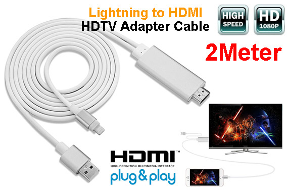 2M Lightning 8Pin to HDMI Adapter Cable - Silver