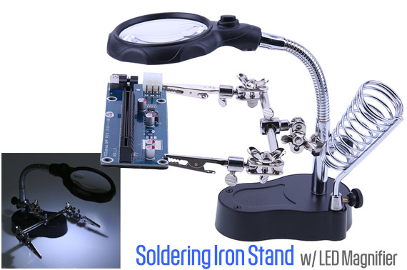 Helping Hand Soldering Iron Stand with LED Magnifier