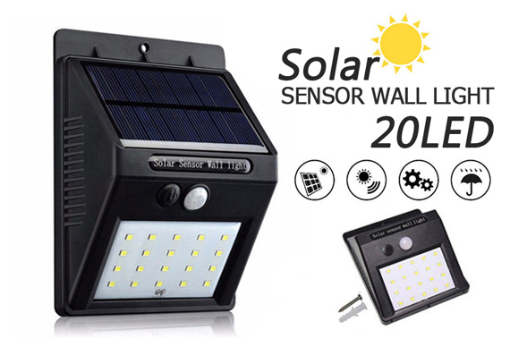 20LED Solar Power Wall Lights w/ Motion Sensor