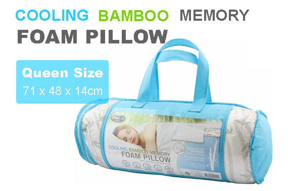 Cooling Bamboo Memory Foam Pillow XL with Zip 71 x 48 x 14cm