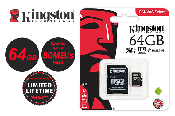 Kingston Canvas Select 64GB MICRO SDHC Card w/ Adapter