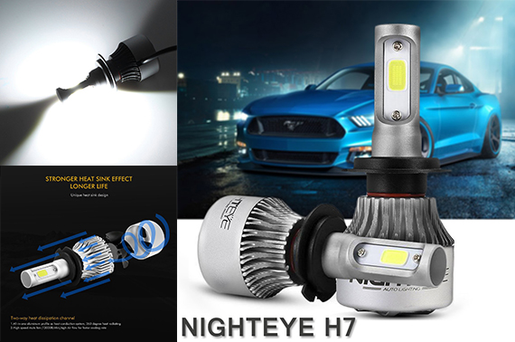 H7 72W 8000Lm LED Car Headlight Bulbs Beam Conversion Globes 6500K Kit