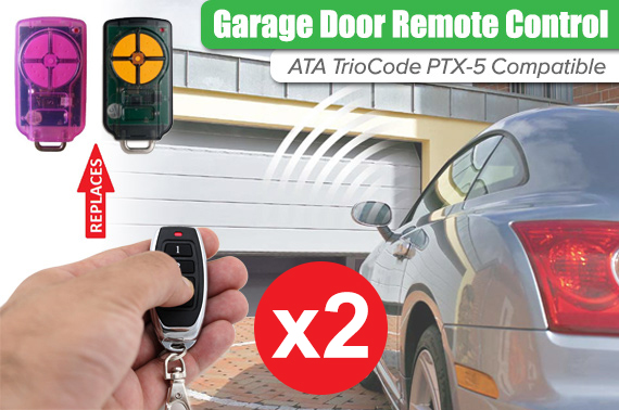 2x ATA PTX5 TrioCode GDO Garage Door Roller Remote Control Replacement