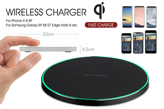 Wireless Qi FAST Charger For Apple iPhone X 8 Plus Note 8 S8 S9