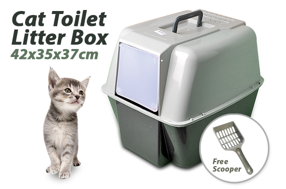 Front Open Portable Hooded Cat Toilet Litter Box With Handle & Scoop