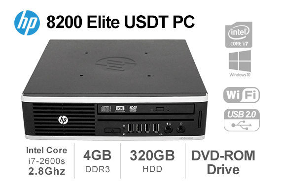 Refurbished HP Elite 8200 USDT Intel Core i7-2600s 2.8GHz 4GB 320GB HDD DVDRW Win10