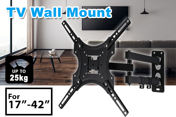 24-42 Inch TV Wall Mount Bracket Swivel Full Motion Tilt VESA