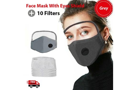 Reusable Face Mask Pm2 5 Filters Anti Air Pollution Eye Shield Washable Adult Au