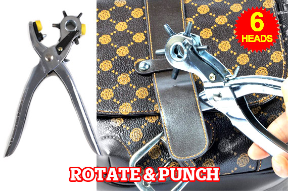 Rotate & Punch 6 Heads  - Perfect Round Holes in Leather, Fabric and More