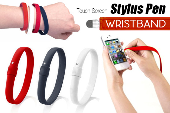 2x Silicone Touch Screen Stylus Pen Bracelet/Wristband for iPhone/iPad/Tablets