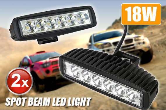 2x 18W Super Slim Spot Beam LED Light Bar
