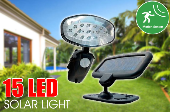 Solar Powered 15 LED Motion Sensor Garden Light