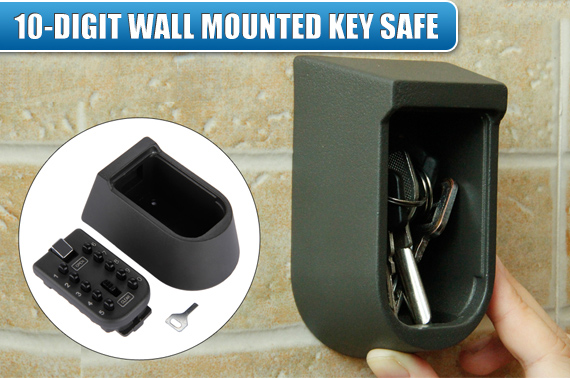 Outdoor Wall Mounted Weatherproof Spare Key Storage w/ Security Lock