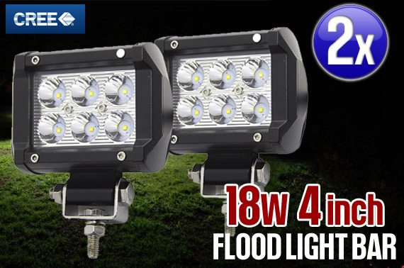 2x 4inch 18W CREE LED Flood Work Light Bar