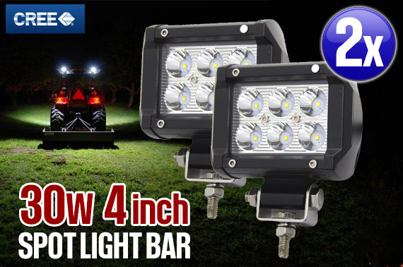 2x 4inch 30W CREE LED Flood Work Light Bar