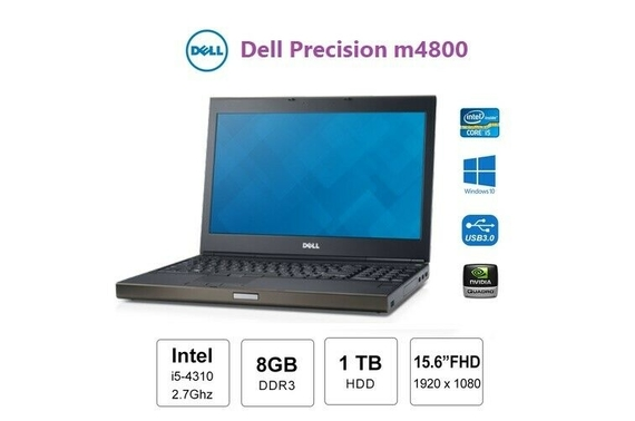 "Refurbished Dell Precision m4800 15.6"" Full HD Laptop Win 10 Pro"