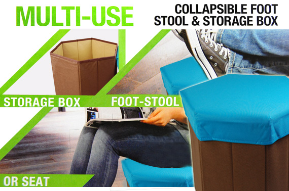 Multi-Purpose Collapsible Foot Stool and Storage Box